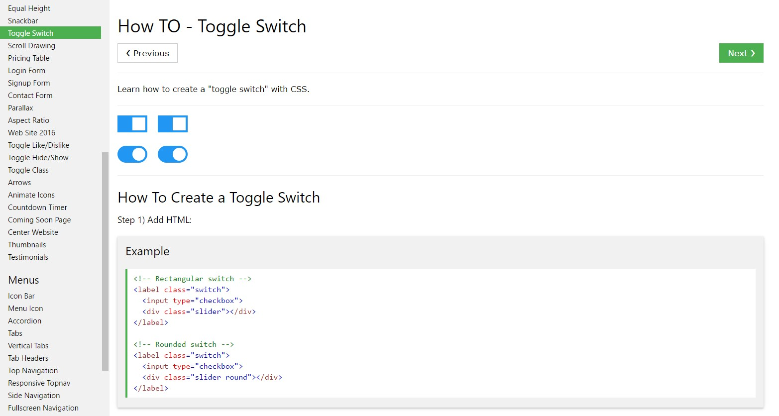 Ways to  generate Toggle Switch