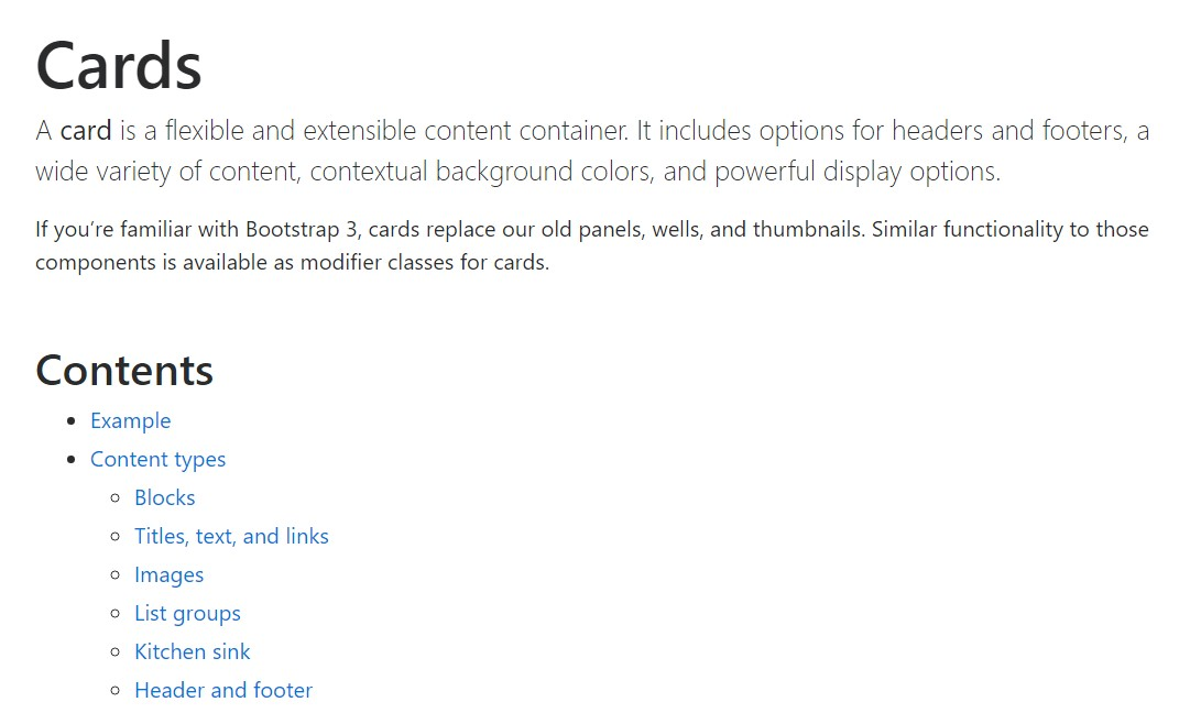 Bootstrap Panel-Cards:  formal documentation